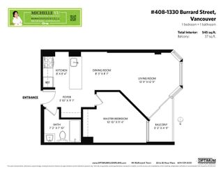 """Photo 2: 408 1330 BURRARD Street in Vancouver: Downtown VW Condo for sale in """"Anchor Point 1"""" (Vancouver West)  : MLS®# R2613390"""