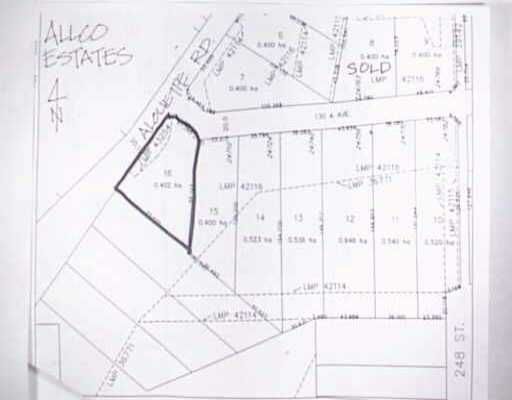 Main Photo: LOT 16 ALOUETTE RD in Maple Ridge: Websters Corners Land for sale : MLS®# V208907