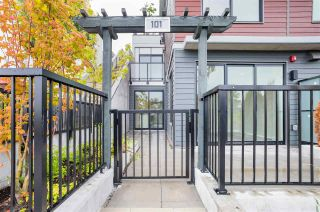 """Photo 1: 101 217 CLARKSON Street in New Westminster: Downtown NW Townhouse for sale in """"Irving Living"""" : MLS®# R2545600"""