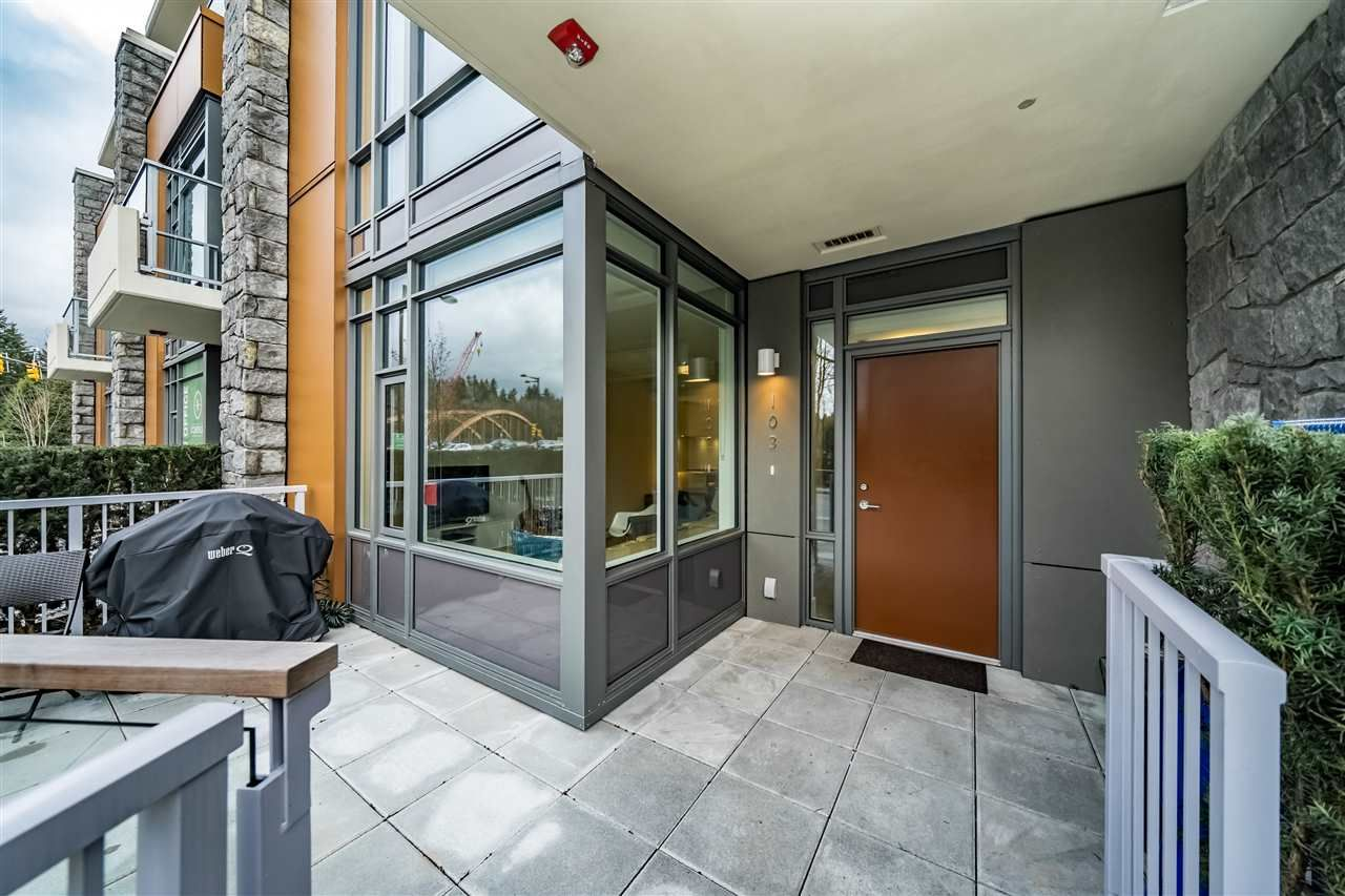 """Main Photo: 103 680 SEYLYNN Crescent in North Vancouver: Lynnmour Townhouse for sale in """"Compass at Seylynn Village"""" : MLS®# R2449318"""