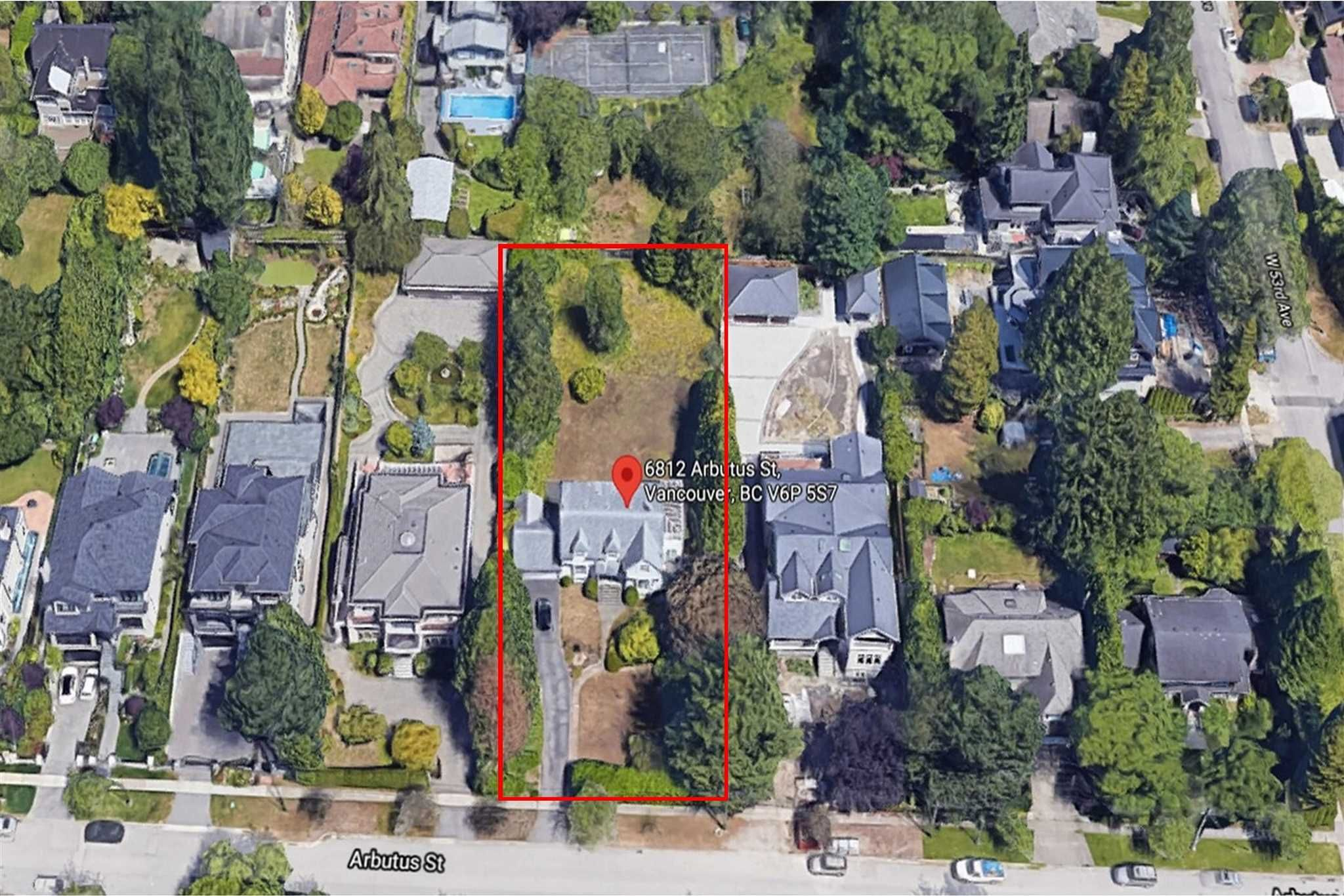 Aerial View - Front - Lot 21945 sq.ft.