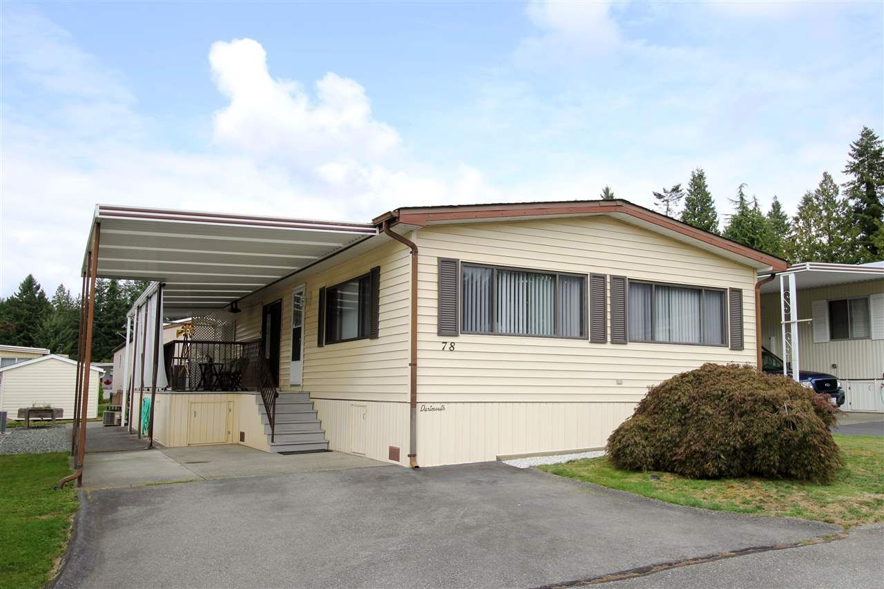 "Main Photo: 78 2315 198 Street in Langley: Brookswood Langley Manufactured Home for sale in ""Deer Creek Estates"" : MLS®# R2492888"