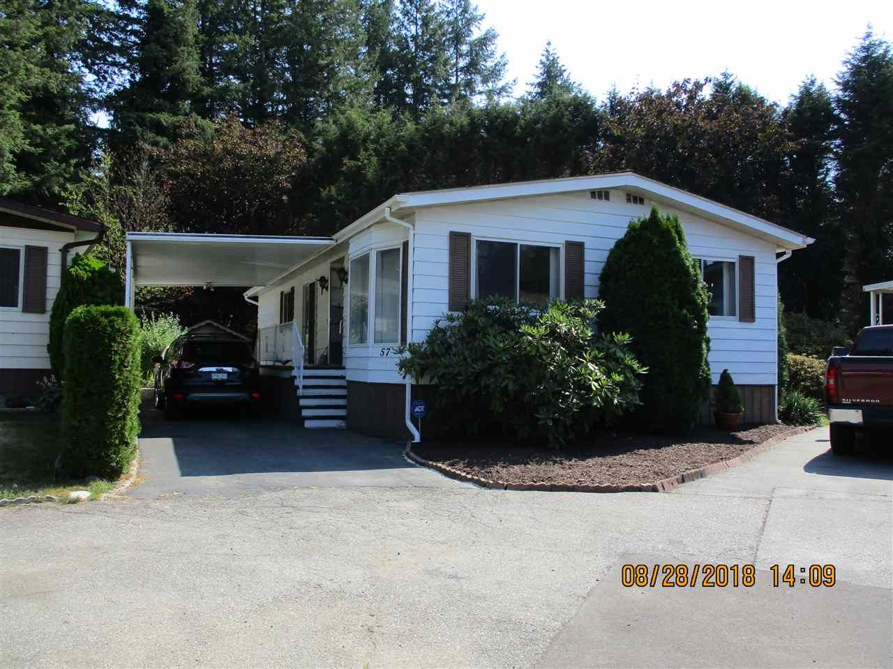 """Main Photo: 57 2305 200 Street in Langley: Brookswood Langley Manufactured Home for sale in """"CEDAR LANE"""" : MLS®# R2357125"""