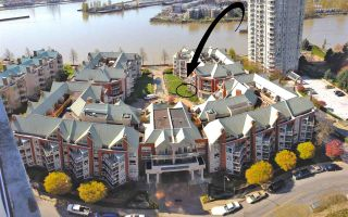 """Photo 1: 109 1230 QUAYSIDE Drive in New Westminster: Quay Condo for sale in """"Tiffany Shores"""" : MLS®# R2406017"""