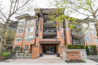"Photo 1: 322 700 KLAHANIE Drive in Port Moody: Port Moody Centre Condo for sale in ""Boardwalk at Klahanie"" : MLS®# R2439001"