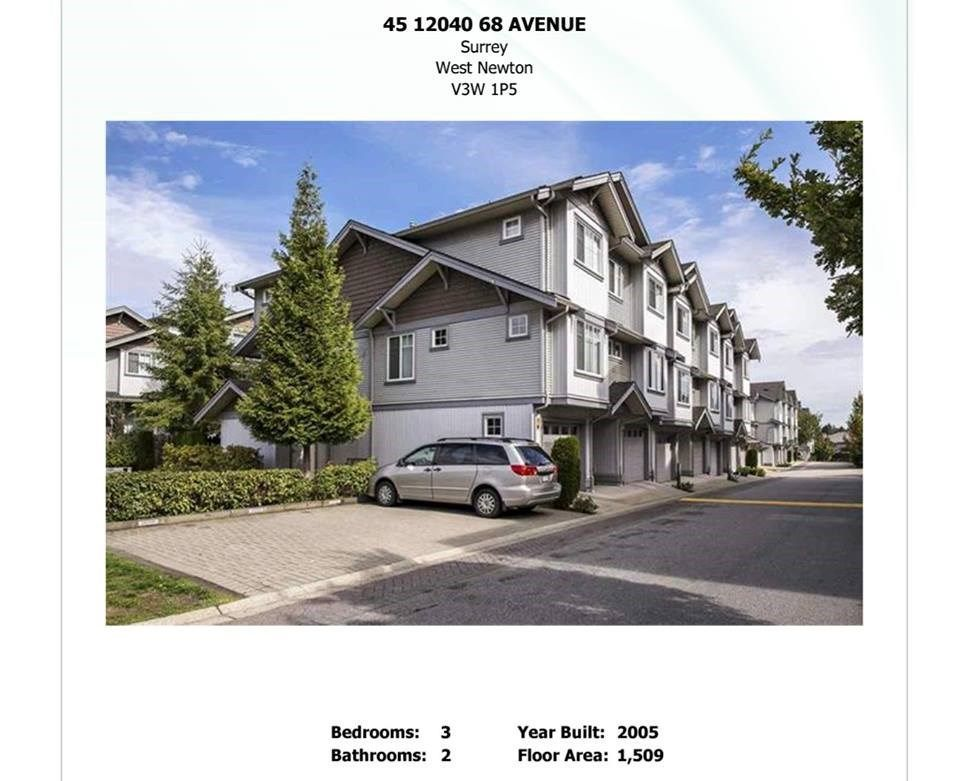 Main Photo: 45 12040 68 Avenue in Surrey: West Newton Townhouse for sale : MLS®# R2235365