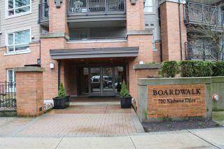 "Photo 1: 212 700 KLAHANIE Drive in Port Moody: Port Moody Centre Condo for sale in ""BOARDWALK AT KLAHANIE"" : MLS®# R2146218"