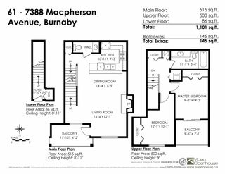 """Photo 20: 61 7388 MACPHERSON Avenue in Burnaby: Metrotown Townhouse for sale in """"ACACIA GARDENS"""" (Burnaby South)  : MLS®# R2166985"""