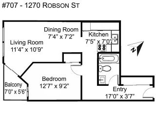 """Photo 2: 707 1270 ROBSON Street in Vancouver: West End VW Condo for sale in """"Robson Gardens"""" (Vancouver West)  : MLS®# R2603912"""
