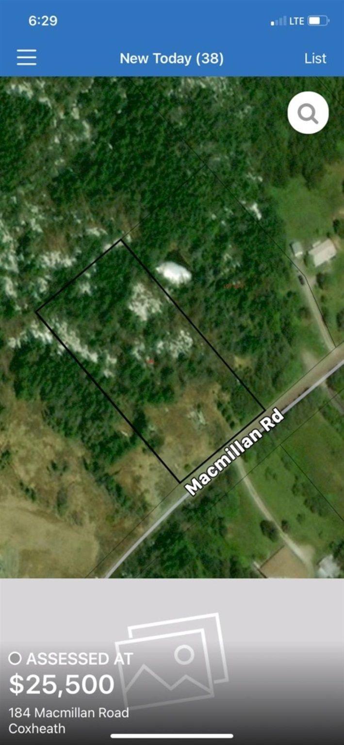Main Photo: 184 MacMillian Road in Coxheath: 202-Sydney River / Coxheath Vacant Land for sale (Cape Breton)  : MLS®# 202116476
