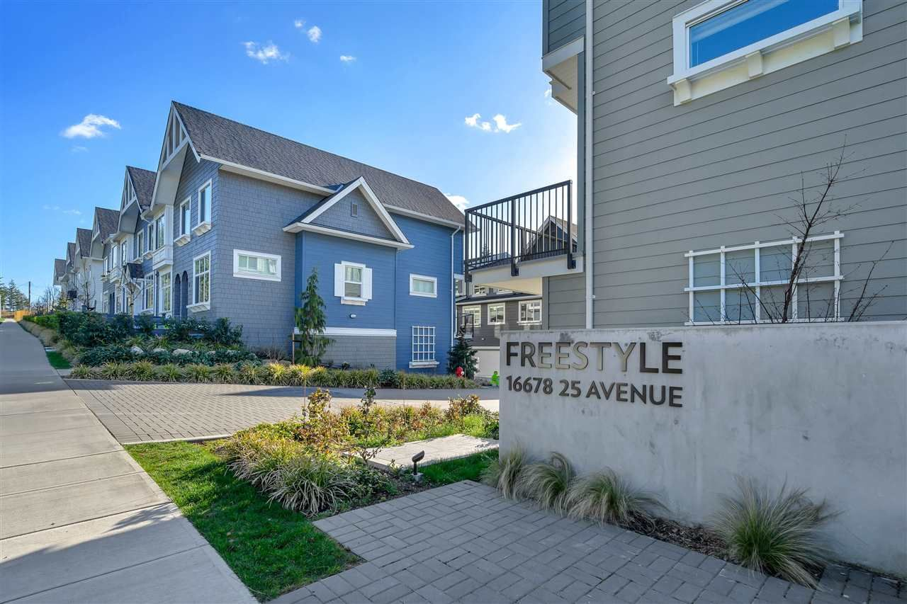 """Main Photo: 65 16678 25 Avenue in Surrey: Grandview Surrey Townhouse for sale in """"FREESTYLE"""" (South Surrey White Rock)  : MLS®# R2559893"""