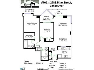 """Photo 17: 705 2288 PINE Street in Vancouver: Fairview VW Condo for sale in """"THE FAIRVIEW"""" (Vancouver West)  : MLS®# V1142280"""