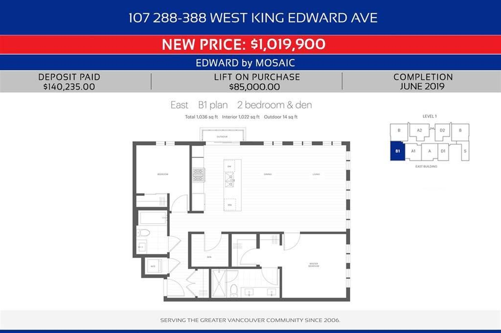 """Main Photo: 107 288 W KING EDWARD Avenue in Vancouver: Cambie Condo for sale in """"EDWARD BY MOSAIC"""" (Vancouver West)  : MLS®# R2351404"""
