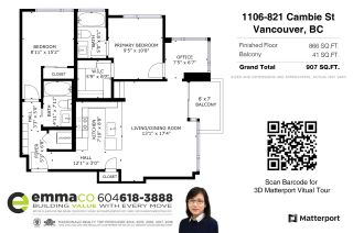 """Photo 32: 1106 821 CAMBIE Street in Vancouver: Downtown VW Condo for sale in """"RAFFLES ON ROBSON"""" (Vancouver West)  : MLS®# R2587402"""