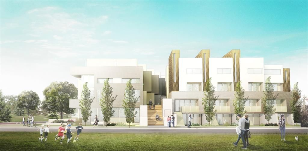 Renderings of approved project along the 17th Ave side and facing onto the new 2 storey C0-OP that is soon to begin construction. A large staircase was designed as a meeting place and to allow light into the courtyard above the at grade parking.