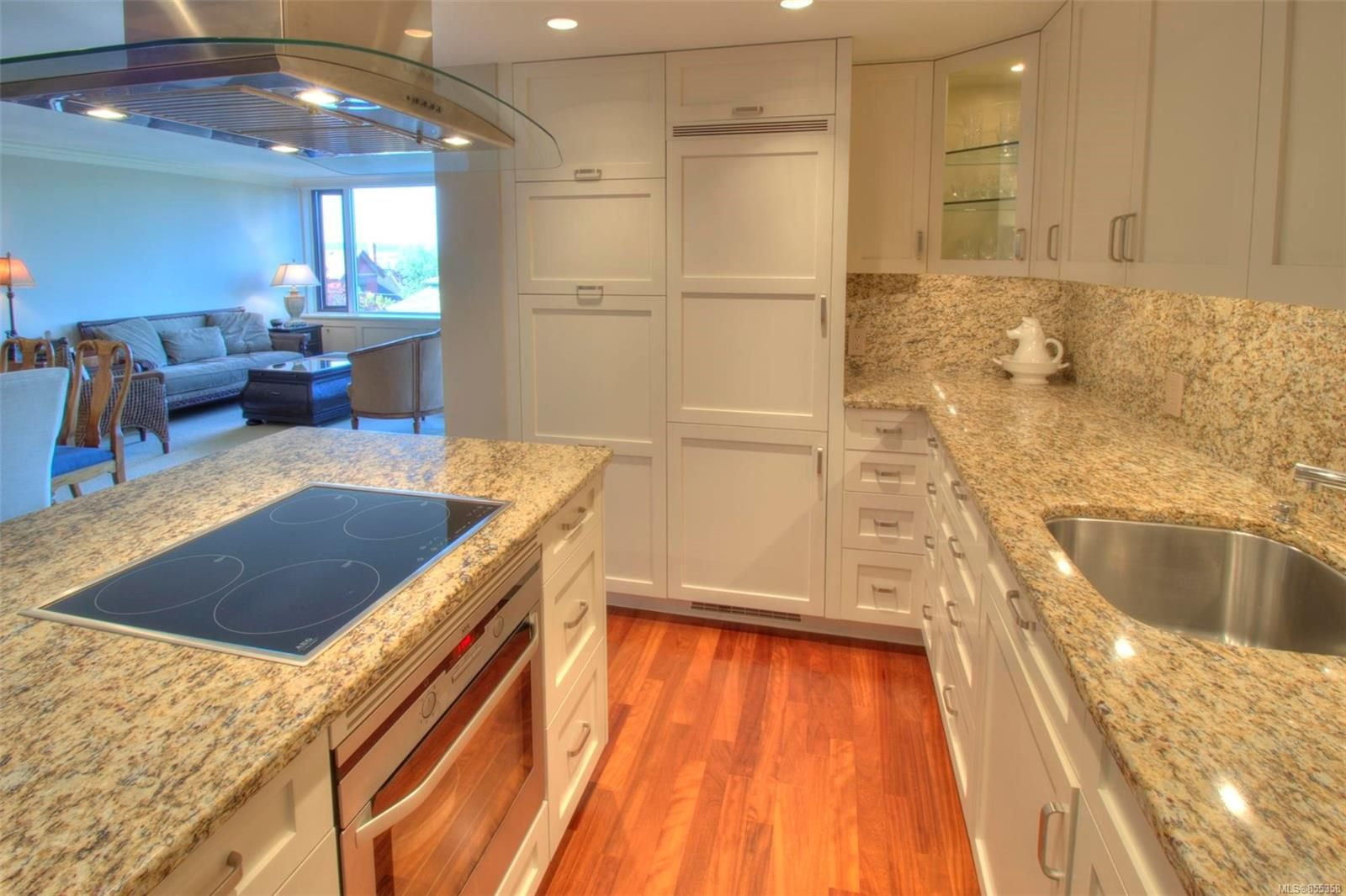 View of high end kitchen. All custom cabinetry, high end appliances and gorgeous granite.