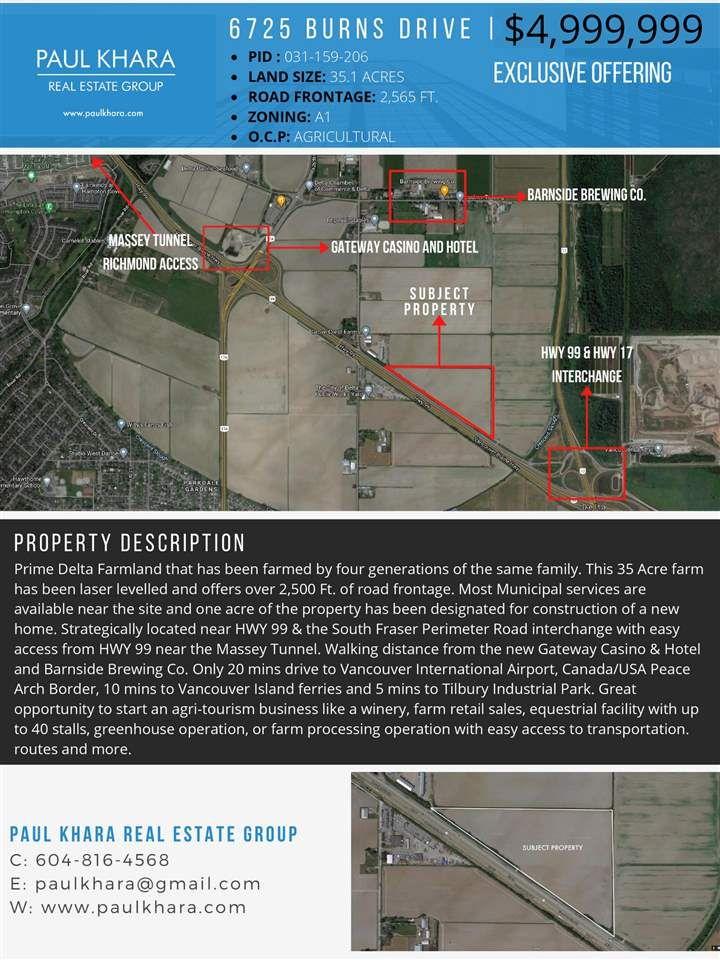 Main Photo: 6725 BURNS Drive in Delta: Ladner Rural Land for sale (Ladner)  : MLS®# R2554519