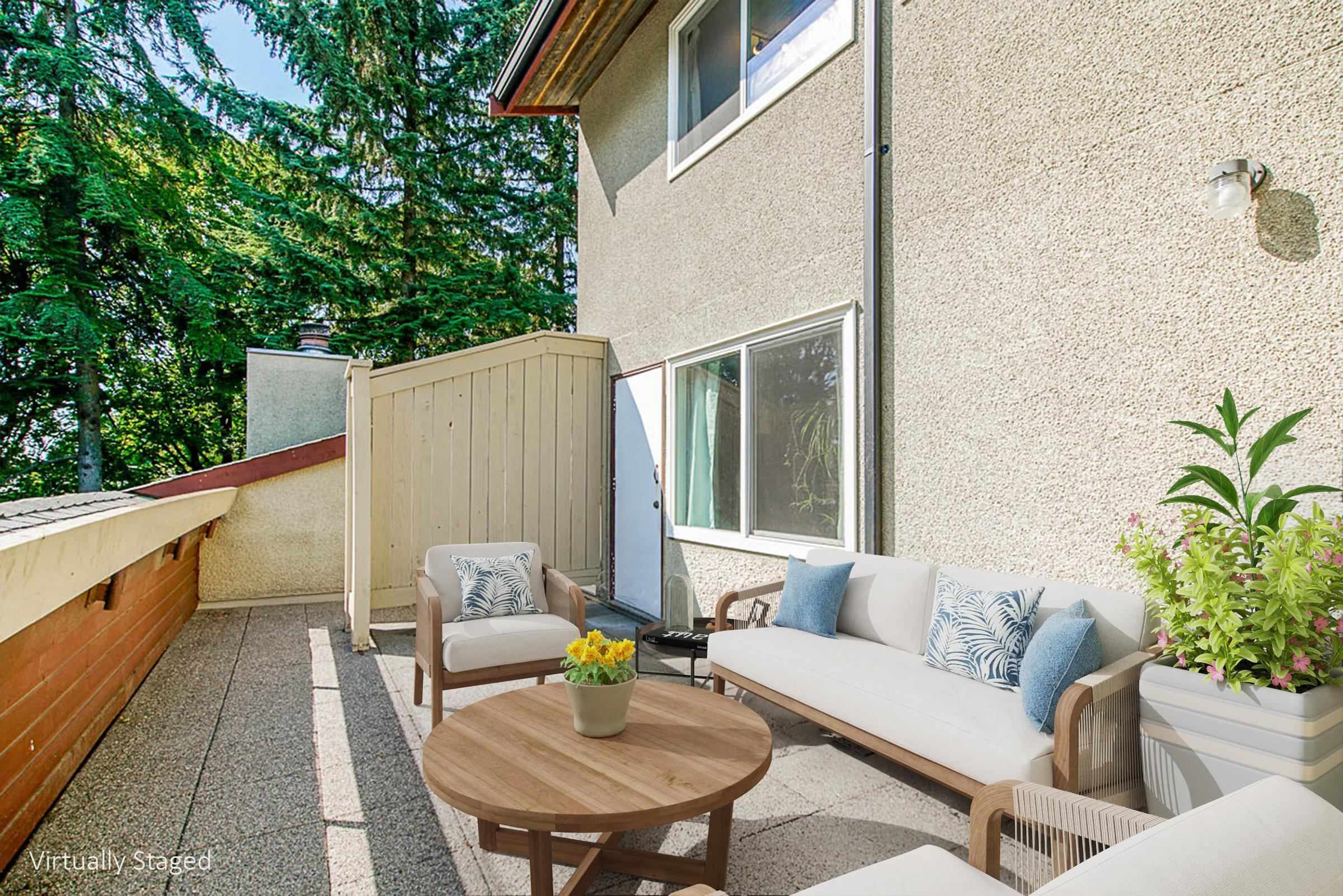 suuny patio with green outllook.  Virtually staged