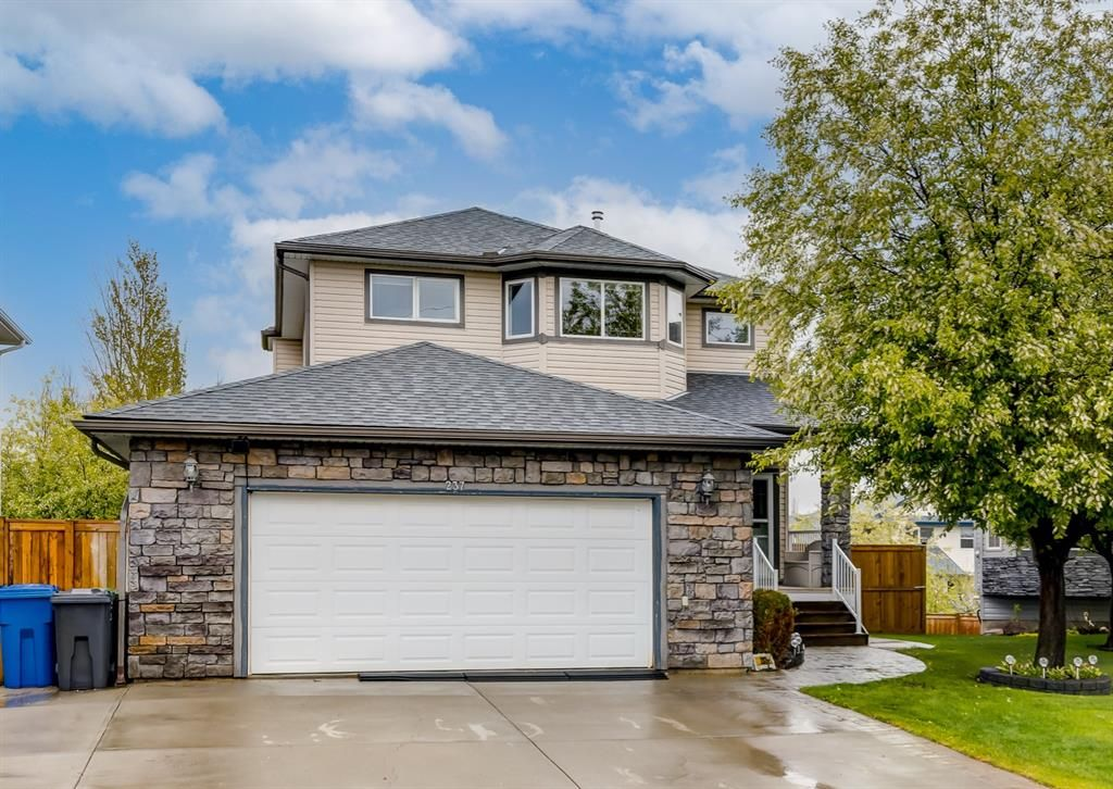 Extended garage pad and oversized double garage.