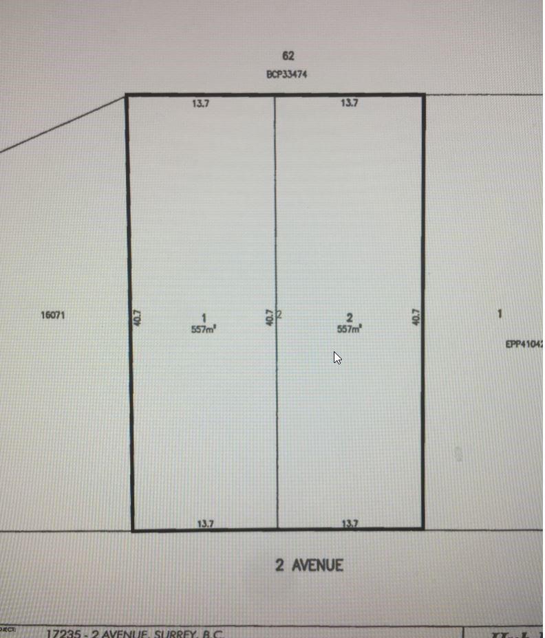 Main Photo: Lot 1 -17235 2 Avenue in : Pacific Douglas Land for sale (South Surrey White Rock)  : MLS®# R2142326