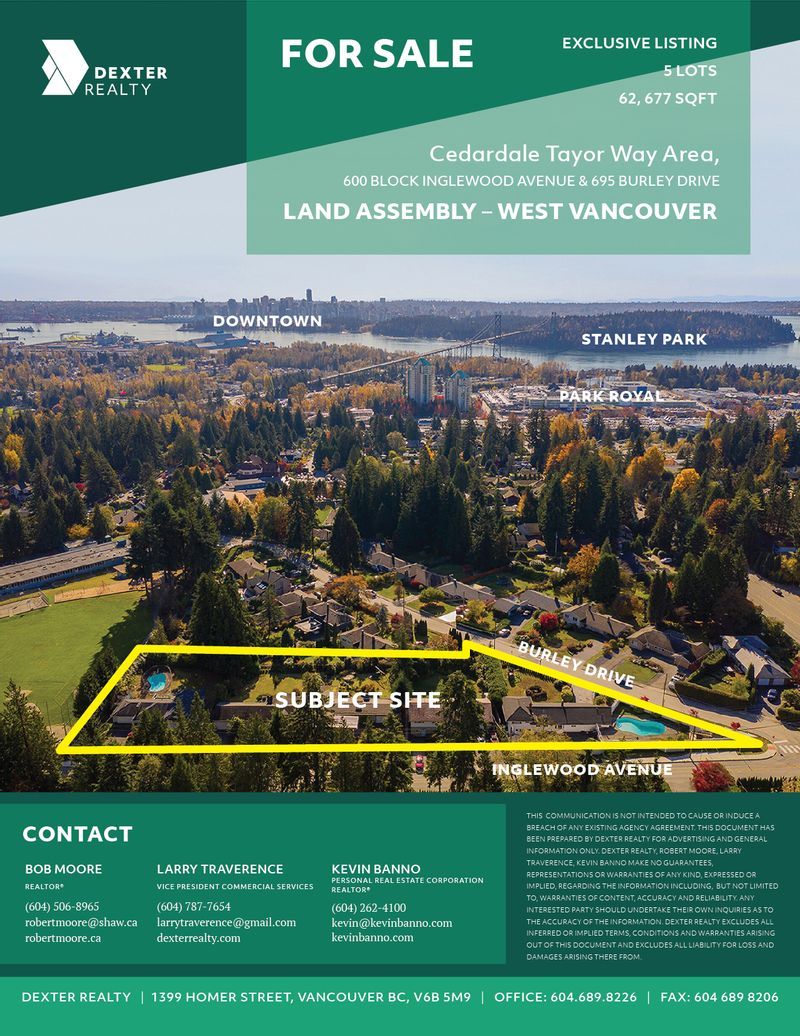 FEATURED LISTING: 5 Lot Land Assembly Inglewood Avenue & Burley Drive INGLEWOOD AVE. & BURLEY DR. WEST VANCOUVER
