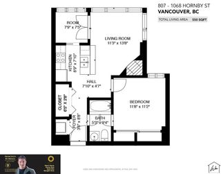 Photo 15: 807 1068 HORNBY STREET in Vancouver: Downtown VW Condo for sale (Vancouver West)  : MLS®# R2611620