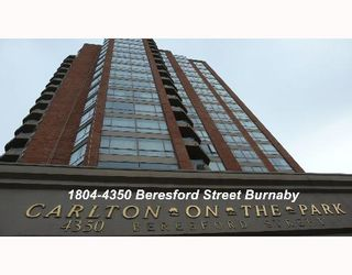 """Photo 1: 1804 4350 BERESFORD Street in Burnaby: Metrotown Condo for sale in """"CARLTON ON THE PARK"""" (Burnaby South)  : MLS®# V640174"""