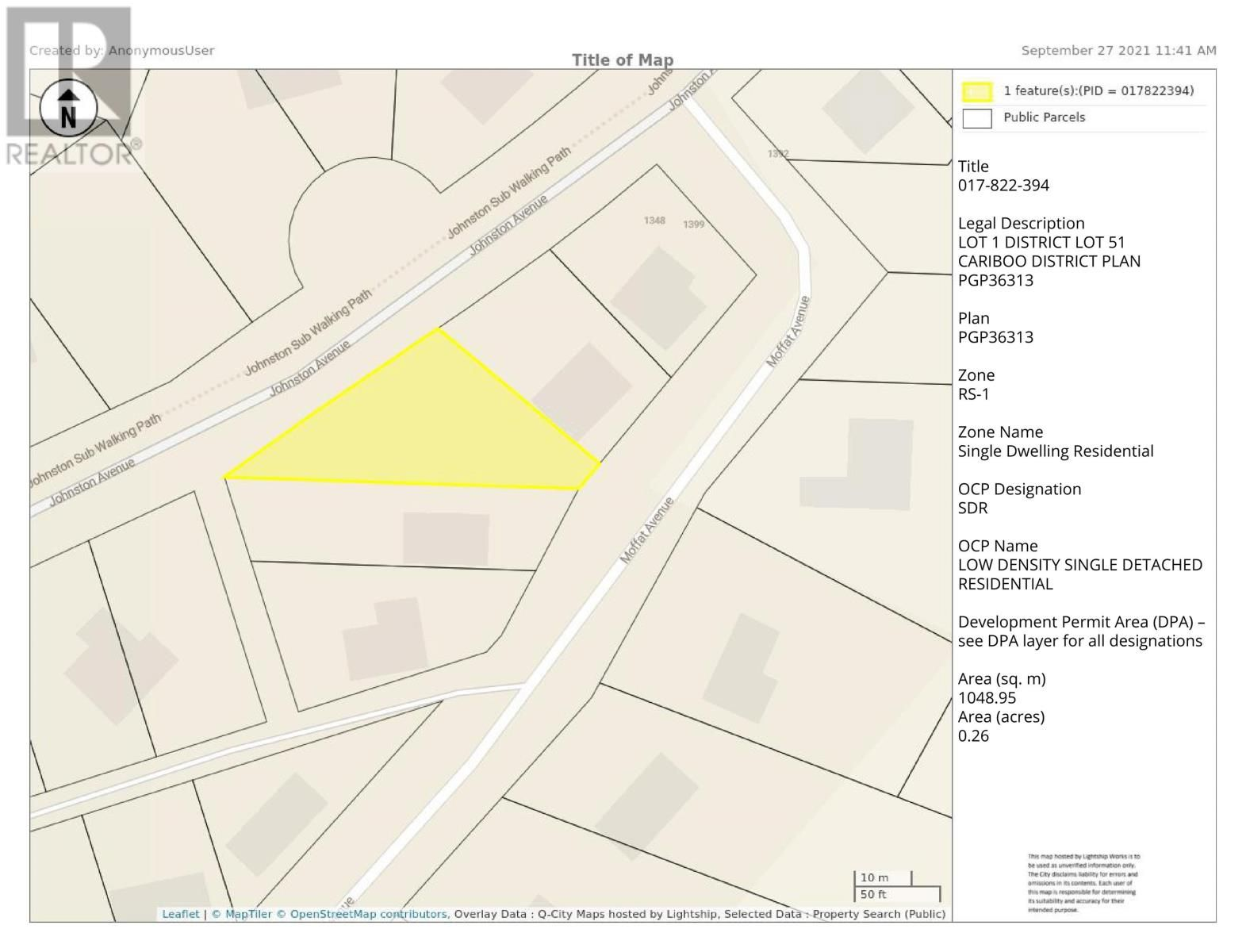 Main Photo: LOT 1 JOHNSTON ROAD in Quesnel: Vacant Land for sale : MLS®# R2624633