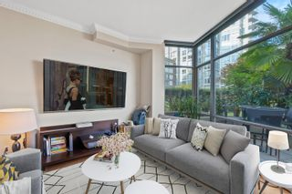 """Photo 1: TH117 1288 MARINASIDE Crescent in Vancouver: Yaletown Townhouse for sale in """"Crestmark I"""" (Vancouver West)  : MLS®# R2625173"""