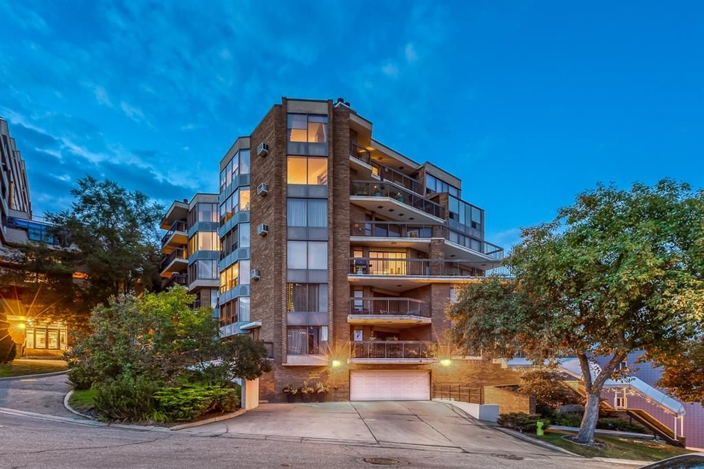Holly Point is an architecturally pleasing, Concrete building overlooking the Bow River