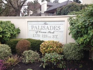 """Photo 1: 112 1770 128TH Street in Surrey: Crescent Bch Ocean Pk. Townhouse for sale in """"Palisades"""" (South Surrey White Rock)  : MLS®# F1207044"""