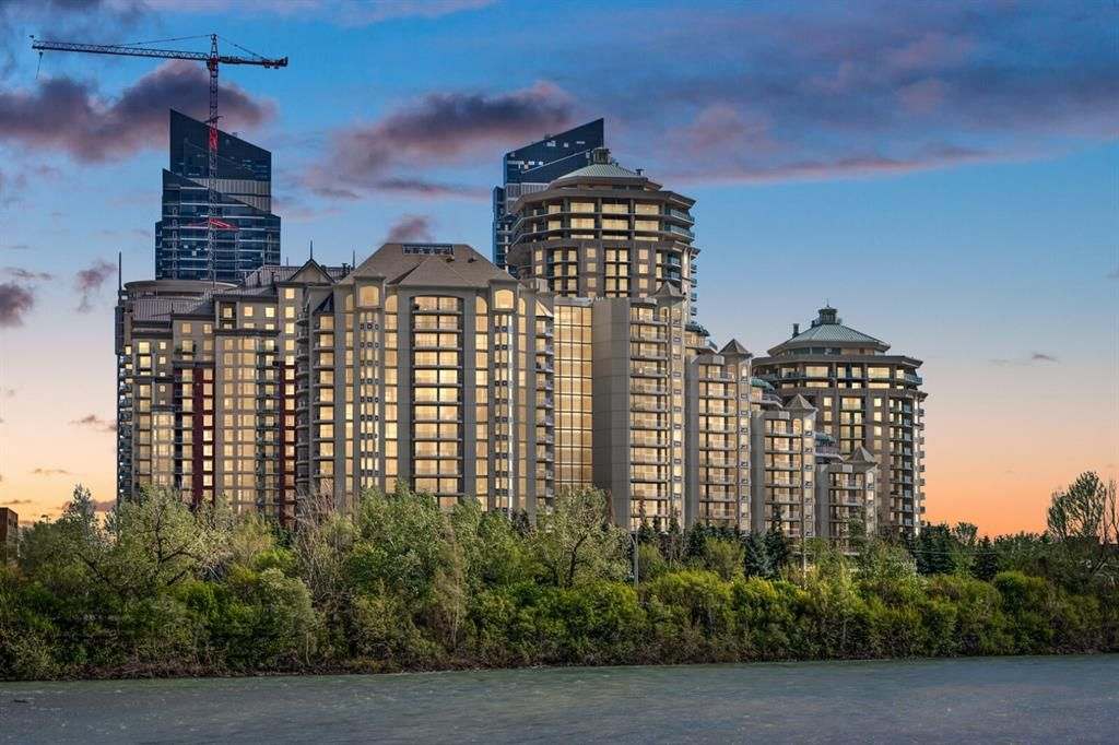 The elegant Marquis condominiums located near the Bow River parks and pathways