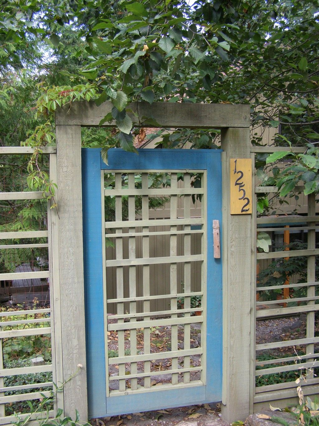 front gate to Japanese inspired front garden