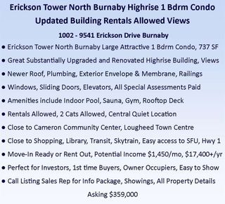 Photo 2: 1002 9541 ERICKSON Drive in Burnaby: Sullivan Heights Condo for sale (Burnaby North)  : MLS®# R2507603