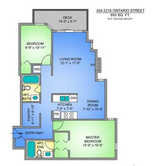 """Photo 4: 304 3218 ONTARIO Street in Vancouver: Main Condo for sale in """"Ontario Place"""" (Vancouver East)  : MLS®# R2502317"""
