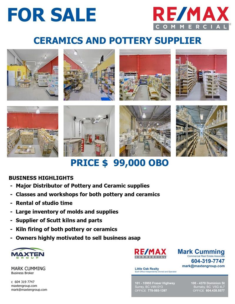 FEATURED LISTING: ~ - ~ Ceramics and pottery business