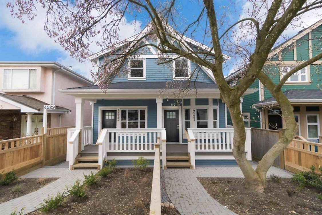 Main Photo: 4523 NANAIMO Street in Vancouver: Victoria VE 1/2 Duplex for sale (Vancouver East)  : MLS®# R2397053