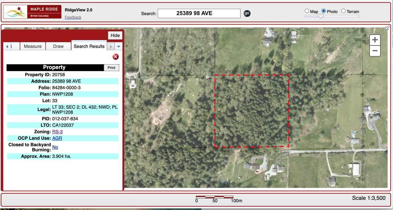 Main Photo: 25389 98 Avenue in Maple Ridge: Thornhill MR Land for sale : MLS®# R2537550