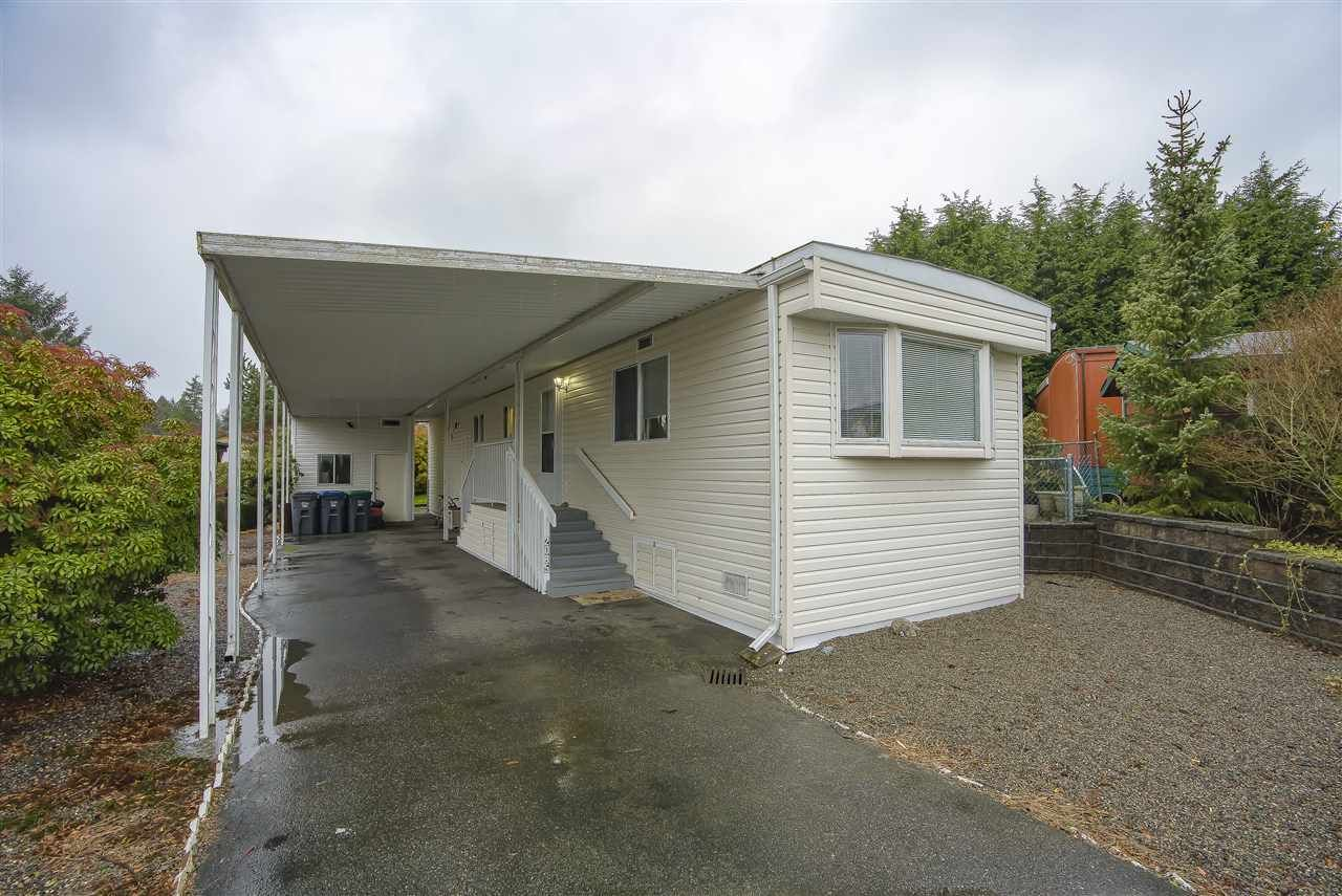 "Main Photo: 2085 CUMBRIA DRIVE Drive in Surrey: King George Corridor Manufactured Home for sale in ""CRANLEY PLACE"" (South Surrey White Rock)  : MLS®# R2430118"
