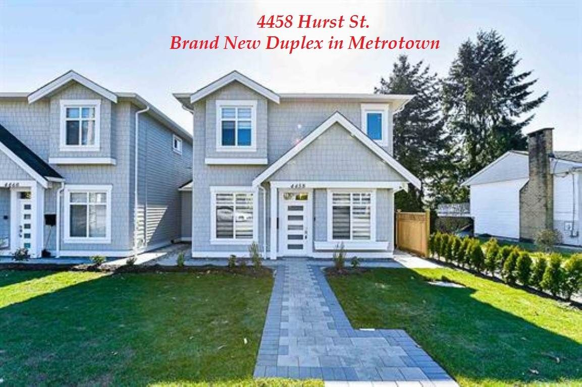Main Photo: 4458 HURST Street in Burnaby: Metrotown 1/2 Duplex for sale (Burnaby South)  : MLS®# R2417165