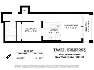 """Photo 18: 907 668 COLUMBIA Street in New Westminster: Quay Condo for sale in """"TRAPP + HOLBROOK"""" : MLS®# R2512551"""
