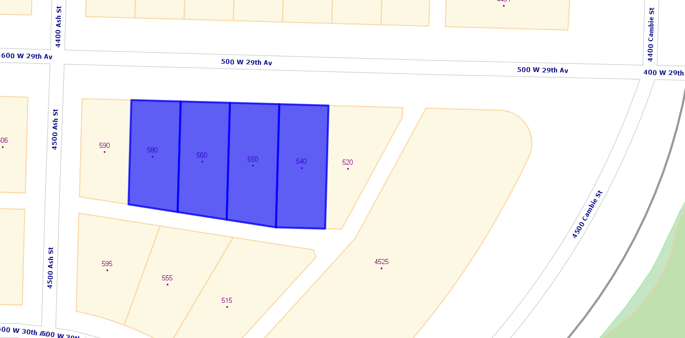 Main Photo: 540, 550, 560, 580 W 29th Avenue in Vancouver: Cambie Land for sale (Vancouver West)