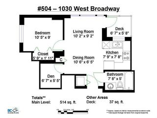 """Photo 17: 504 1030 W BROADWAY in Vancouver: Fairview VW Condo for sale in """"La Columba"""" (Vancouver West)  : MLS®# V1115311"""