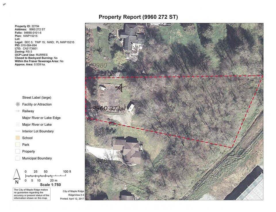 Main Photo: 9960 272 Street in Maple Ridge: Whonnock Land for sale : MLS®# R2153953
