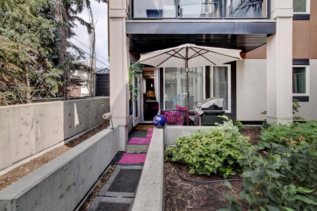 View of unit's patio area from courtyard