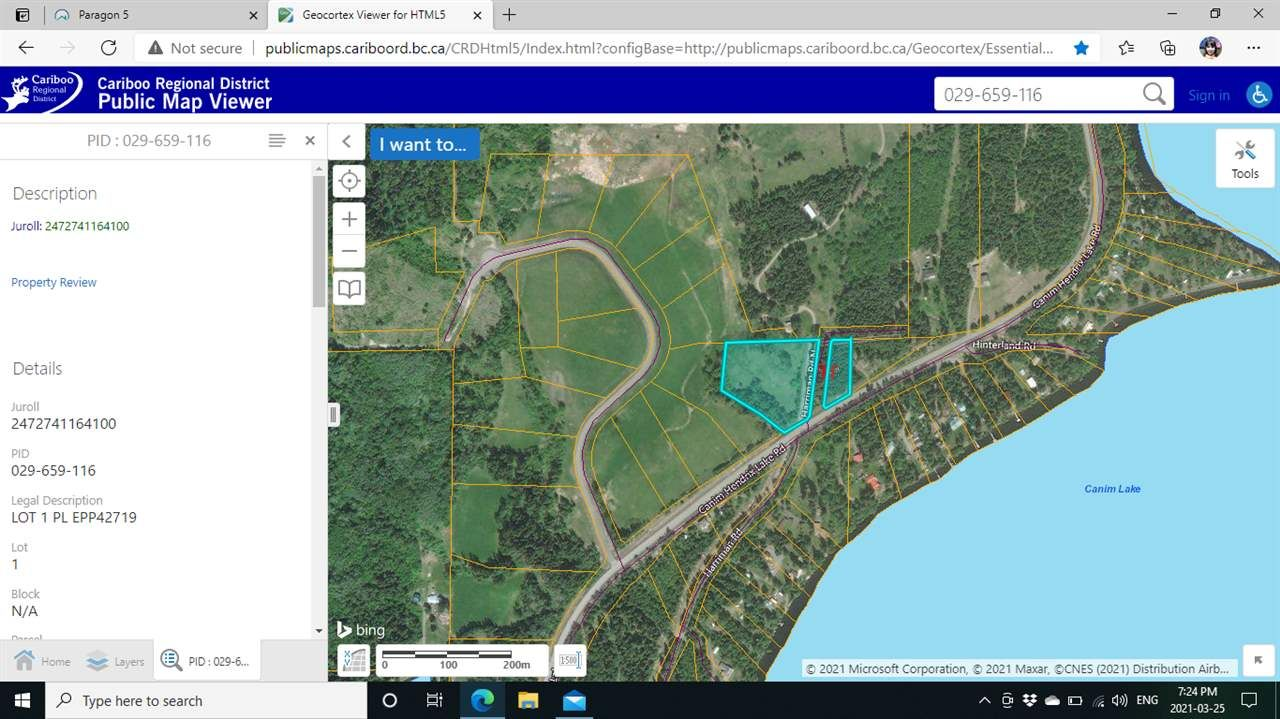 Main Photo: LOT 1 N HARRIMAN Road in Canim Lake: Canim/Mahood Lake Land for sale (100 Mile House (Zone 10))  : MLS®# R2555738