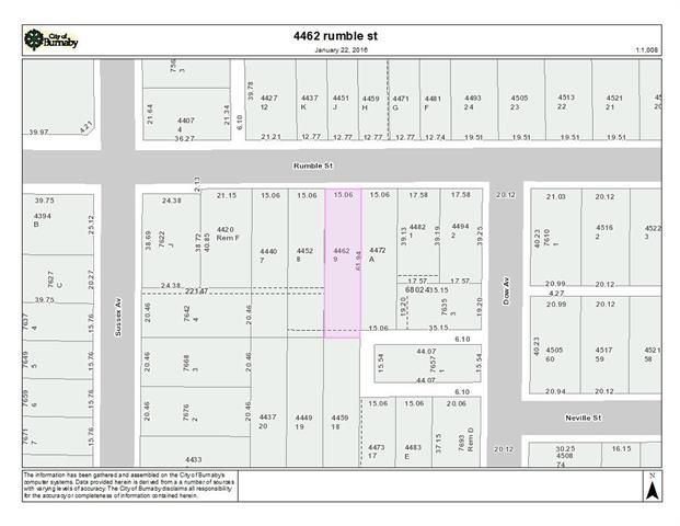 Main Photo: 4462 Rumble in Burnaby: South Slope Land for sale (Burnaby South)  : MLS®# R2027634