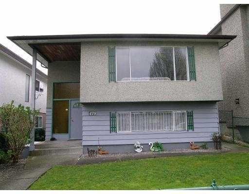 Main Photo: 478 E 37TH AV in Vancouver: Fraser VE House for sale (Vancouver East)  : MLS®# V585880