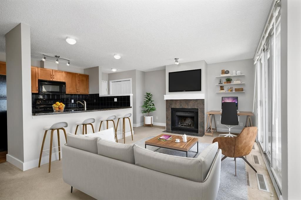 Virtually staged picture of living room area